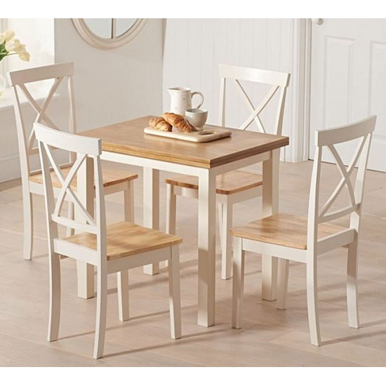 Hove Wooden Extending Dining Table In Light Oak And Cream_4