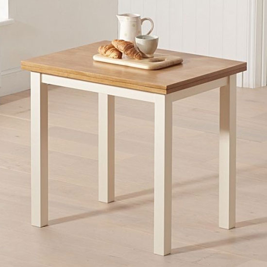 Hove Wooden Extending Dining Table In Light Oak And Cream