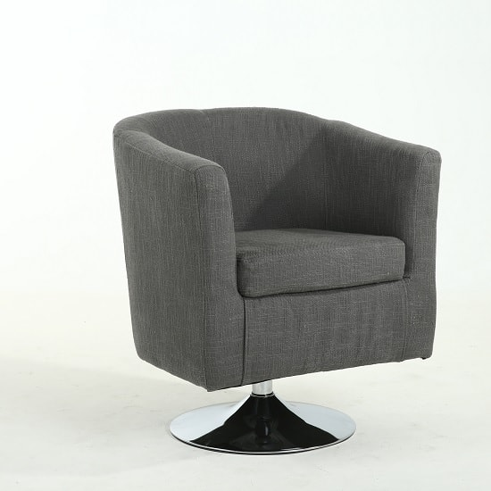 howard tub chair in grey linen style with swivel base 32556. Black Bedroom Furniture Sets. Home Design Ideas
