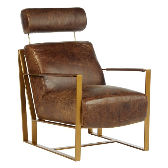 Hoxman Faux Leather Lounge Chair In Brown With Gold Legs