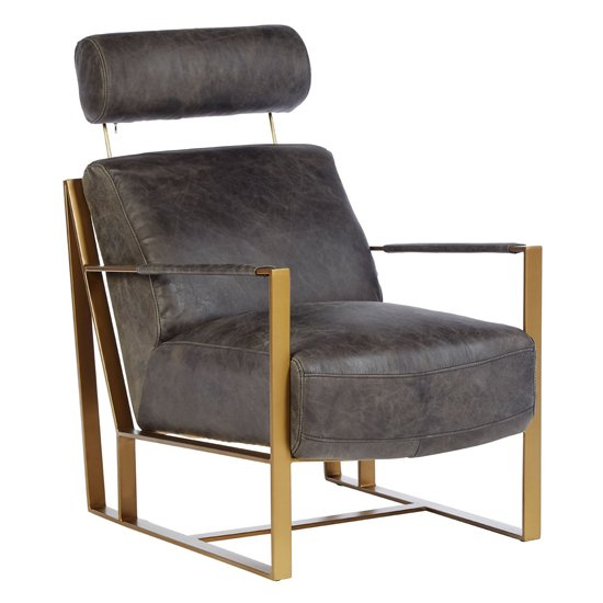 Hoxman Faux Leather Lounge Chair In Ebony With Gold Legs