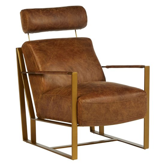 Hoxman Faux Leather Lounge Chair In Light Brown With Gold Legs