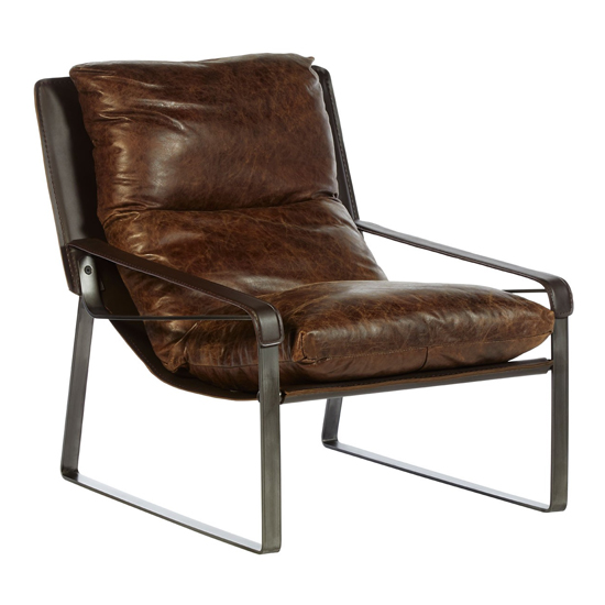 Hoxman Faux Leather Lounge Chaise Chair In Brown