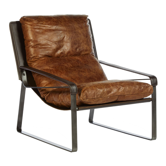 Hoxman Faux Leather Lounge Chaise Chair In Light Brown