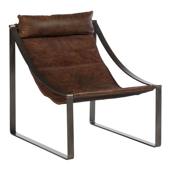 Hoxman Faux Leather Sling Design Accent Chair In Brown