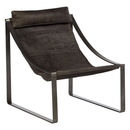 Hoxman Faux Leather Sling Design Accent Chair In Ebony