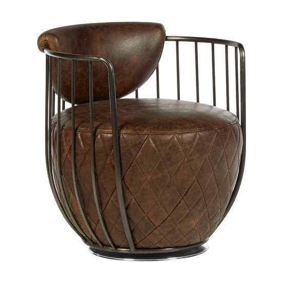 Hoxman Faux Leather Swivel Accent Chair In Brown