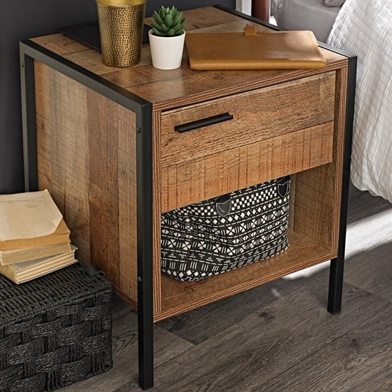 Hoston Wooden Bedside Cabinet In Distressed Oak