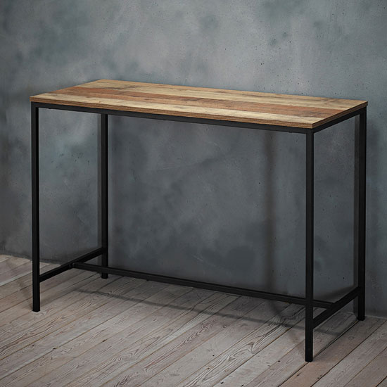 View Hoxton wooden laptop desk in oak with black metal frame