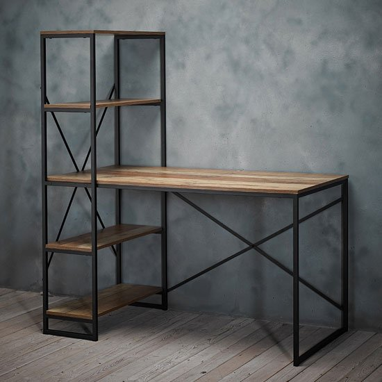 View Hoxton wooden laptop desk in oak with metal frame and 4 shelves