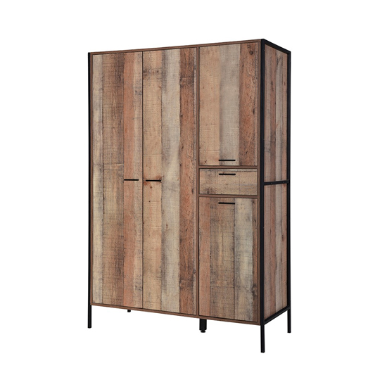 Hoxton Wooden Wardrobe In Distressed Oak With 4 Doors