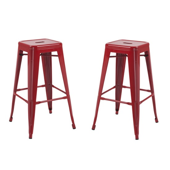Hoxton Metal Stackable Bar Stool In Red in A Pair