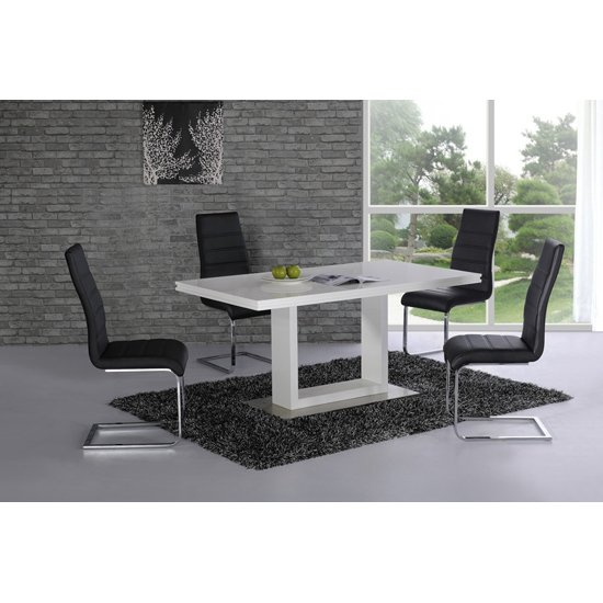 Space High Gloss Dining Table Set White And 6 Chairs
