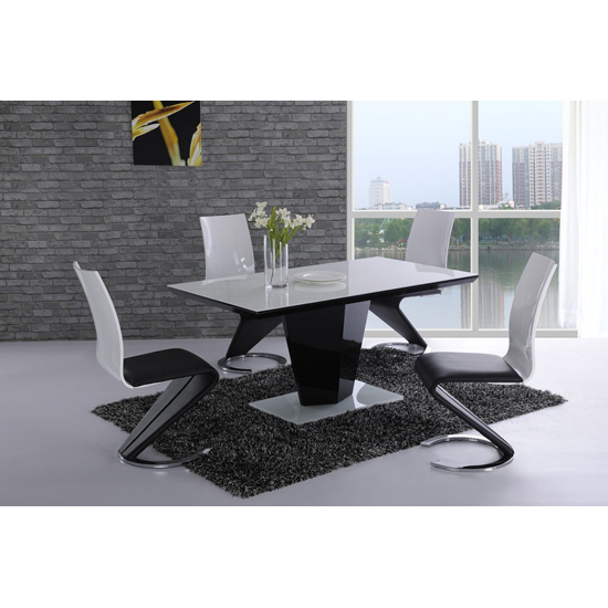 Lerona black high gloss white glass dining table and 6 for Very small dining sets