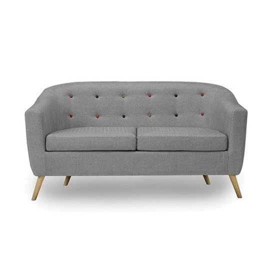 Hudson 2 Seater Fabric Sofa In Grey With Buttons