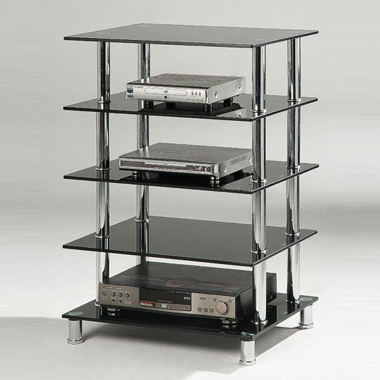 hudson 5 tier black glass hi fi rack stand 10338. Black Bedroom Furniture Sets. Home Design Ideas