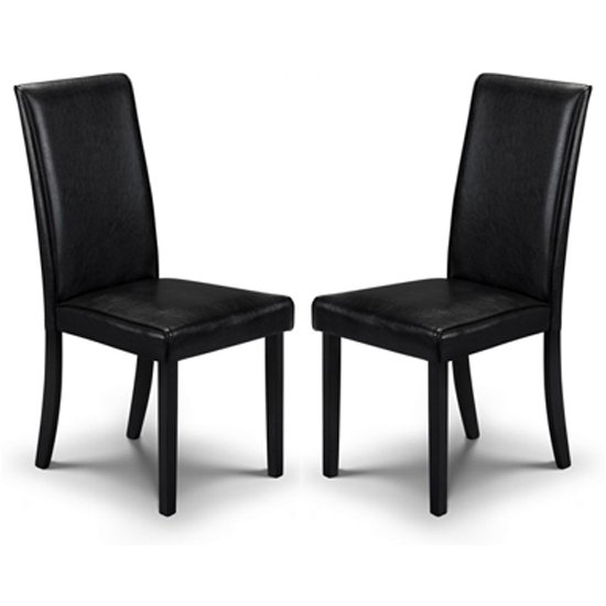 Hudson Black Faux Leather Dining Chair In Pair_1