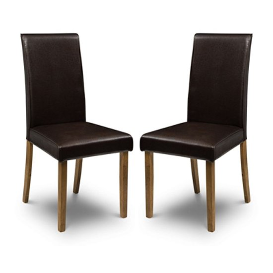 Hudson Brown Faux Leather Dining Chair In Pair