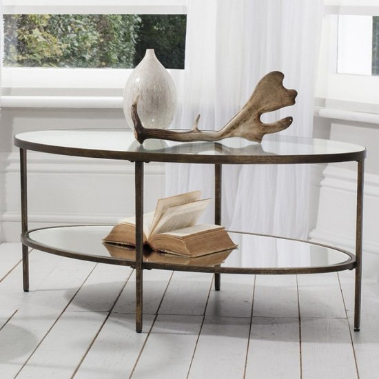 View Hudson mirrored coffee table in bronze