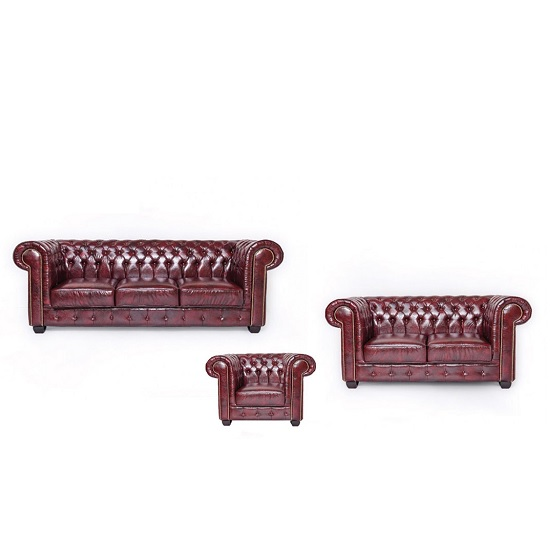 Hudson Chesterfield Sofa Set In Antique Brown Bonded Leather