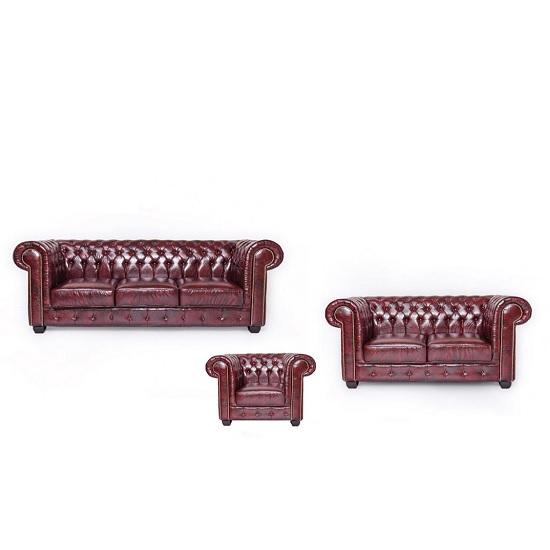 hudson chesterfield sofa set in antique brown bonded. Black Bedroom Furniture Sets. Home Design Ideas