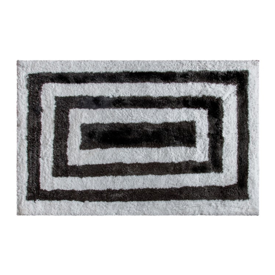 Hugger Large Fabric Upholstered Rug In Black And White