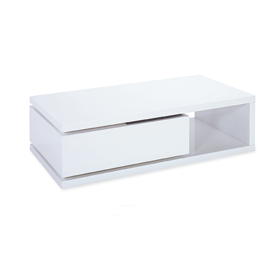 Hugh Wooden Coffee Table In White High Gloss