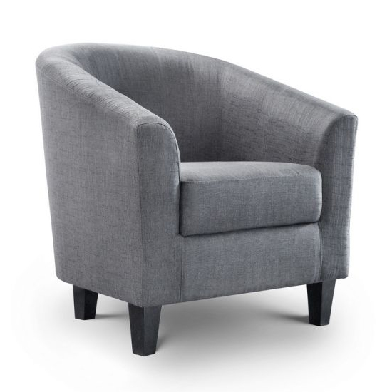 Hugo Linen Fabric Tub Chair In Slate Grey_2