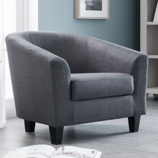 Hugo Linen Fabric Tub Chair In Slate Grey_1