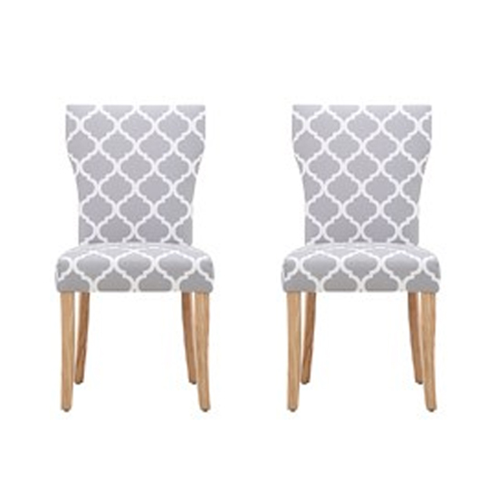 Hugo Patterned Dining Chair In Pair