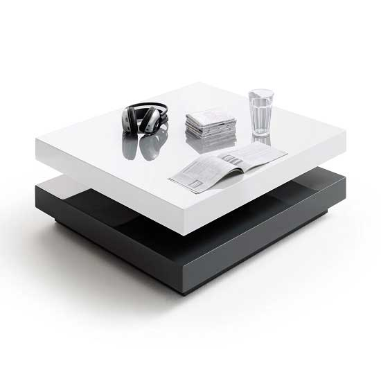 Square Coffee Table Grey: Hugo High Gloss Coffee Table Square In White And Grey 28376