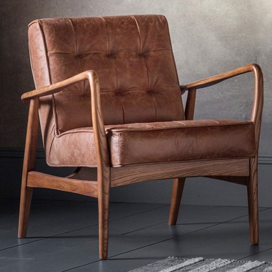 Humber Faux Leather Armchair In Vintage Brown