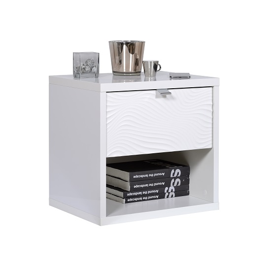 Hummer Wooden Bedside Cabinet In White With One Drawer