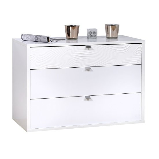 Hummer Chest Of Drawers In White With Three Drawers