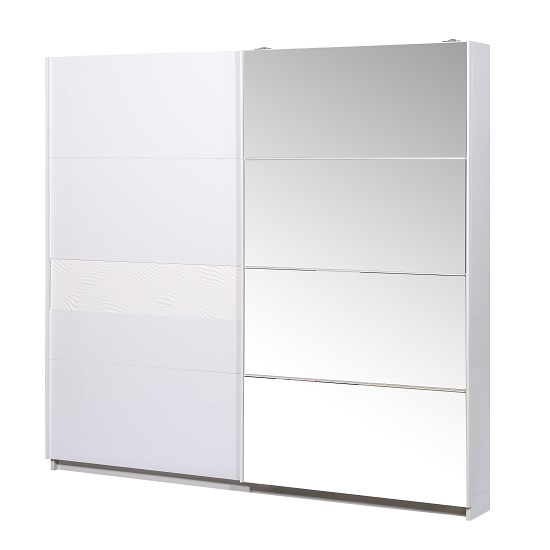 Hummer Sliding Wardrobe In White With One Mirroed Door