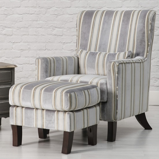 Humphrey Fabric Accent Chair And Footstool In Grey