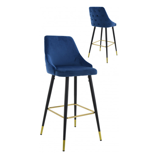Hunter Blue Velvet Bar Stools In Pair_1
