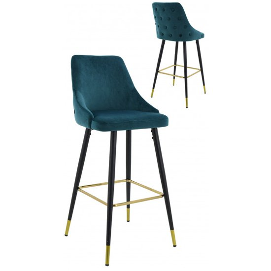 Hunter Green Velvet Bar Stools In Pair