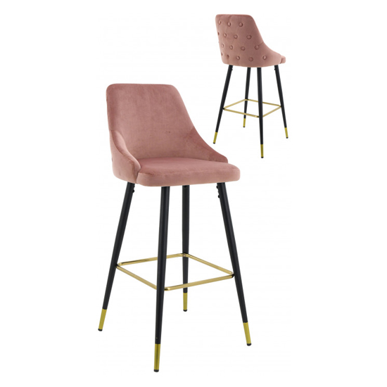 Hunter Pink Velvet Bar Stools In Pair
