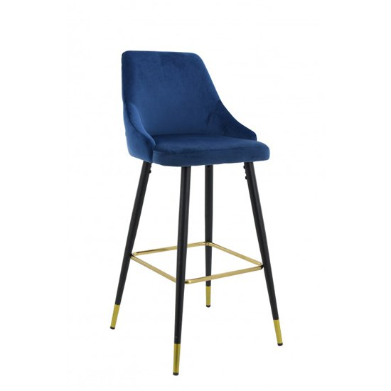 Product photograph showing Hunter Velvet Bar Stool In Blue With Black Steel Legs