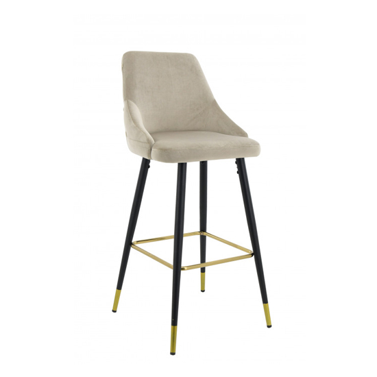Hunter Velvet Bar Stool In Cream With Black Steel Legs