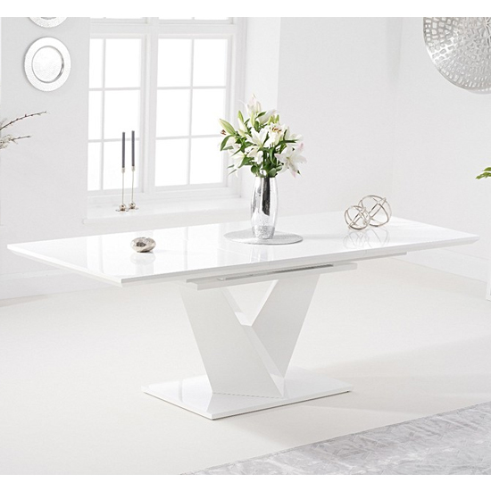 Hunters High Gloss Extending Dining Table In White