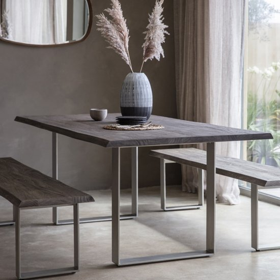 View Huntington wooden dining table in grey