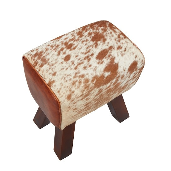 Hurst Stool In Cream And Brown Leather With Solid Wooden Legs_2