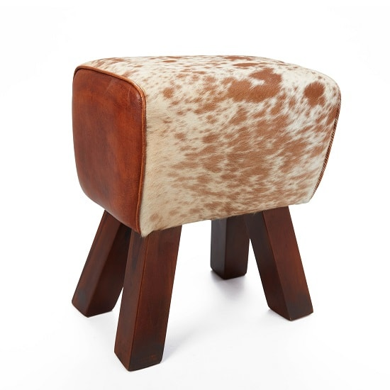 Hurst Stool In Cream And Brown Leather With Solid Wooden Legs_3