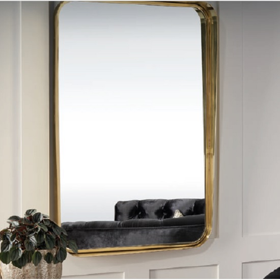 Huston Contemporary Wall Mirror Rectangular In Gold