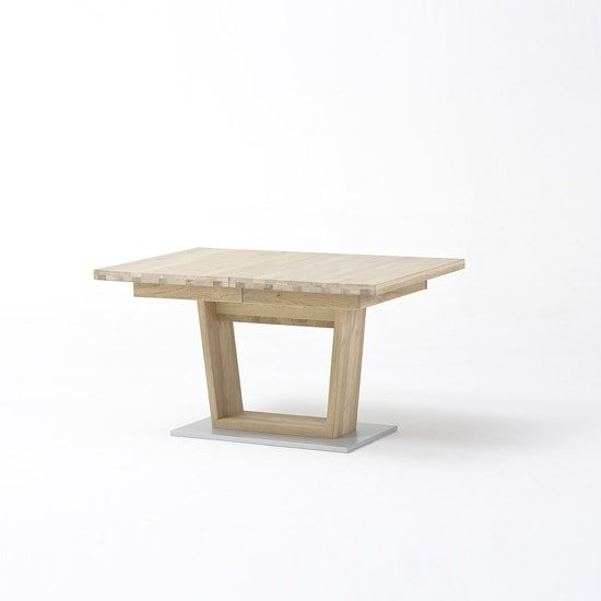 Huxley Wooden Extendable Dining Table In Bianco Oak And V Foot_4