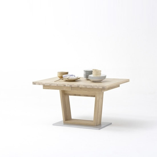 Huxley Wooden Extendable Dining Table In Bianco Oak And V Foot_2