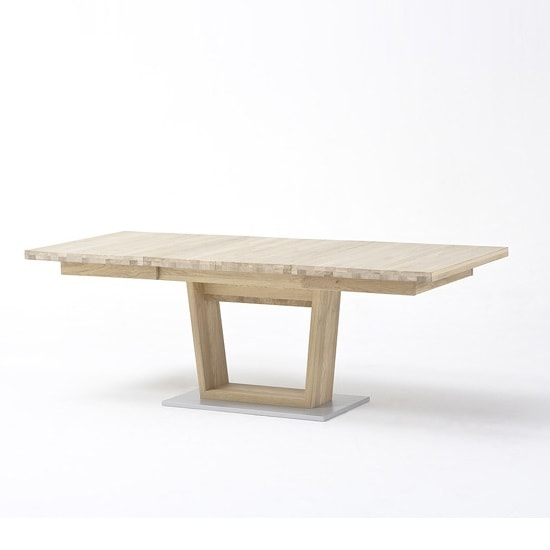 Huxley Wooden Extendable Dining Table In Bianco Oak And V Foot_3