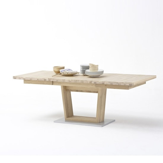 Huxley Wooden Extendable Dining Table In Bianco Oak And V Foot_1